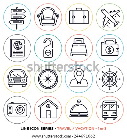 Travel and vacation line icons set.