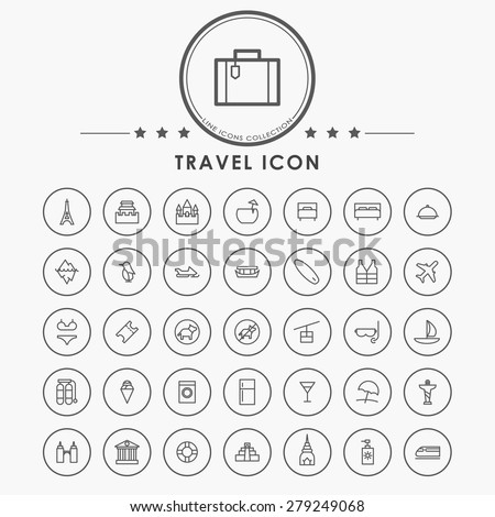 travel and vacation line icons with circle button