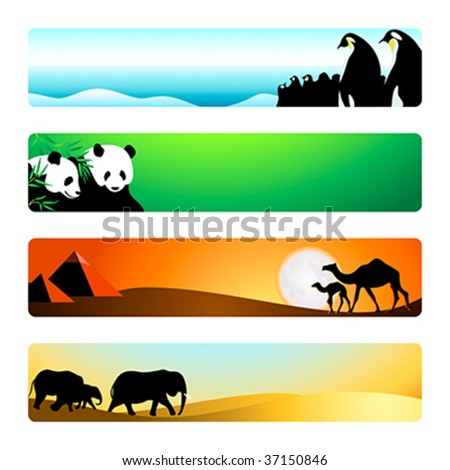 Travel animal destinations banner or header 4-color backgrounds set.