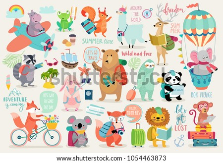 Travel Animals hand drawn style, motivation Calligraphy and other elements. Vector illustration.