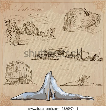 Travel: ANTARCTICA (set no.2)  - Collection of an hand drawn vector illustrations. Each drawing comprise three layers of lines, the colored background is isolated. Editable in layers and groups.