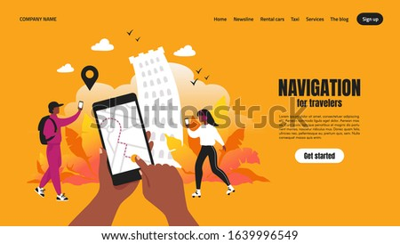 Travel app landing page. Smartphone application concept with map and route, web page with navigation UI. Vector template illustrations navigating for urban traveler