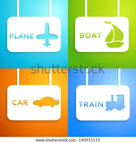 Travel applique background. Vector illustration for your transportation presentation. Picture of the light blue airplane, blue train, green boat and orange car. Easy to change color background. - stock vector