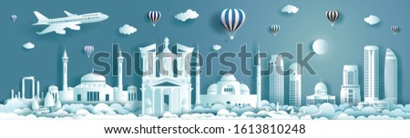Travel architecture landmark of Jordan with modern building, monument, ancient. Business brochure modern design.Tourism arab landmarks of asian with balloon and cloud background. Vector illustration.