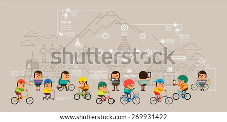 Travel around the city with bicycle, Sport road bike riders cycle, Mobile GPS navigation street map and pins people searching objects on map, Vector illustration