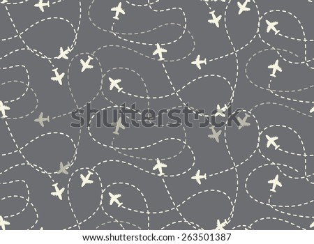 travel around the world airplane routes seamless pattern, background, vector, Endless texture can be used for wallpaper, pattern fills, web page,background,surface - Shutterstock ID 263501387