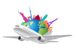 Travel around the world by airplane