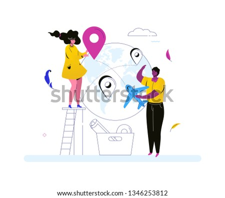 Travel around the world - colorful flat design style illustration on white background. A composition with tourists, man holding a plane, a woman with a map pointer. Touristic destinations concept