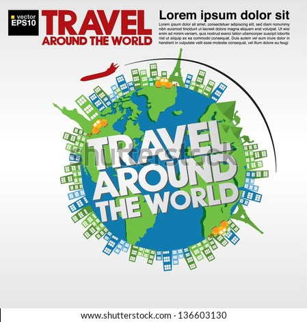 Travel around the world conceptual illustration vector.EPS10