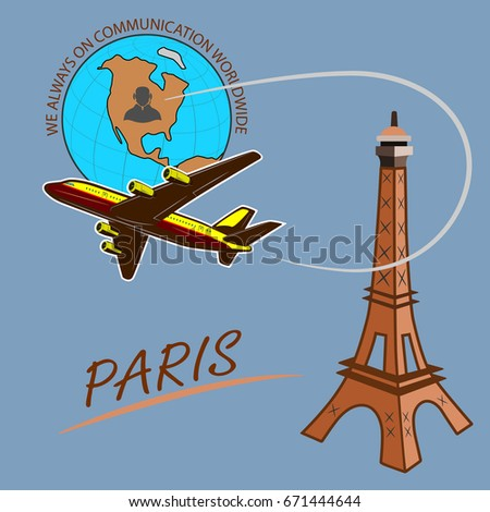 Travel around the world quickly, safely and comfortably  Drawing a passenger airplane in flight. A trip from America to Europe and Paris. For advertising and design.