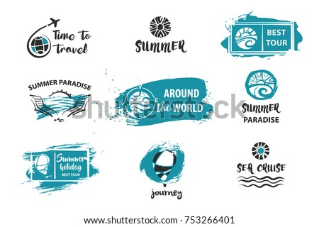 Travel around the world. Summer holiday, life, journey, tour. Set of template logo, logotype, poster, banner for travel agency, bureau. Sketch vector illustration.