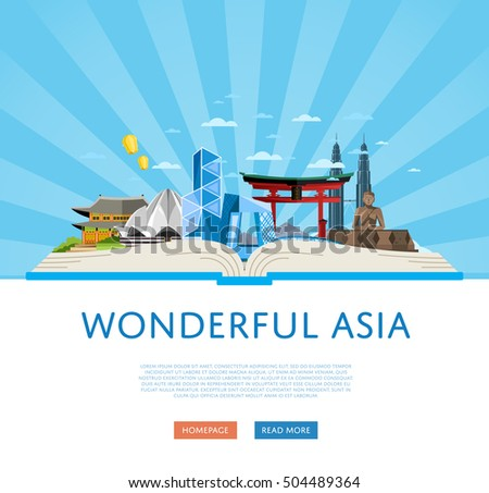 Travel Asia with Asia landmarks vector. Adventure in Asia. Famous Asia travel places.