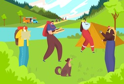 Travel at nature, hiking adventure vector illustration. Outdoor tourism, cartoon people make camp tent. Flat summer lifestyle, vacation trip activity at holiday leisure. Tourist character in forest.