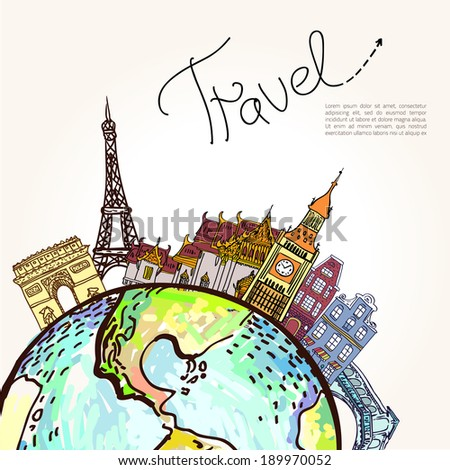 Travel background All elements and textures are individual objects Vector illustration scale to any size