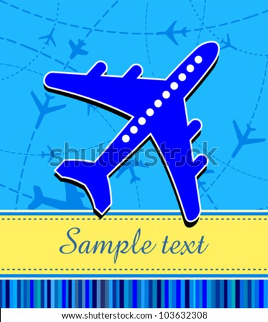 Travel background with airplane and place for your text. Vector Illustration