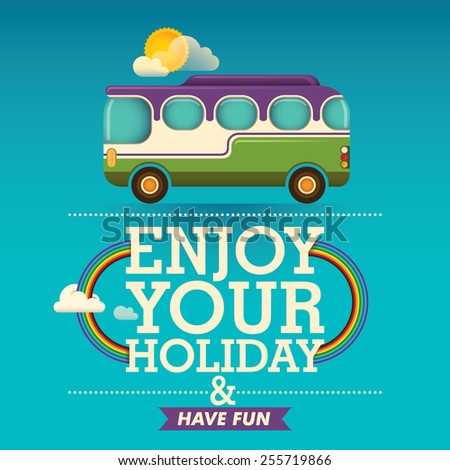 Travel background with bus. Vector illustration.