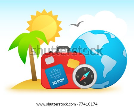 Travel background with compass, luggage, palm and globe