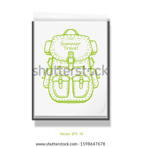 Travel backpack .Open notebook for drawing .White sketchbook .Rest, vacation Vector illustration .