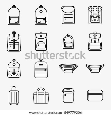 Travel Bag and Backpack Minimal Flat Line Stroke Icon Pictogram Symbol Illustration Set Collection