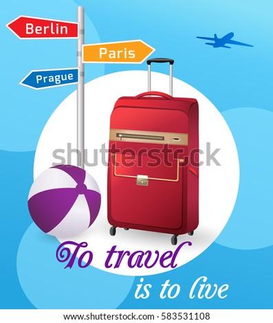 travel bag and beach ball