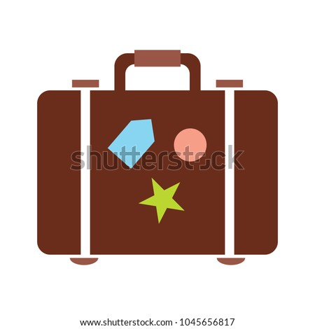 travel bag icon - Suitcase with stickers, travel and tourism concept, holiday icon
