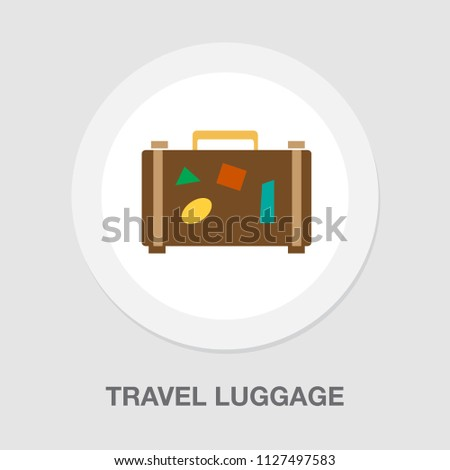 travel bag icon - Suitcase with stickers, travel and tourism concept, holiday icon. luggage