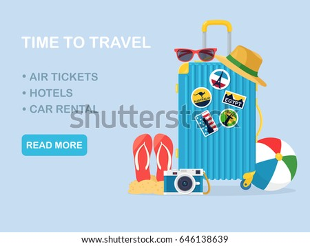 Travel bag, luggage isolated on background. Suitcase with stickers, straw hat, beach ball, sandals, shoes, sunglasses, camera . Summer time, vacation, tourism concept. Vector illustration. Flat design