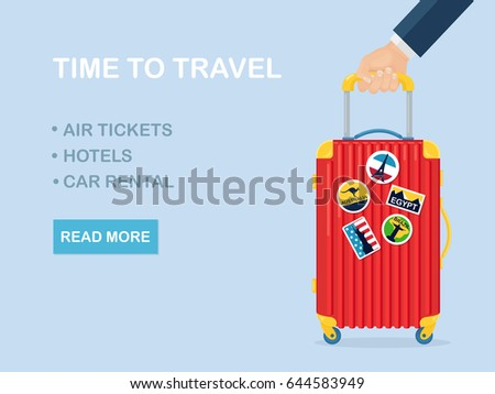 Travel bag, luggage isolated on white background. Man hand hold suitcase with stickers. Summer time, vacation, tourism concept. Vector illustraton. Flat style design