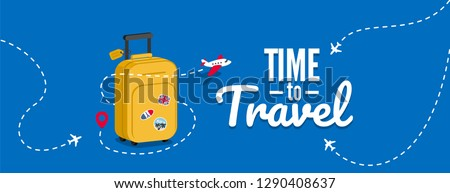 Travel bag with stickers. Concept for aircraft, travelling and trip. Trip background. Vector illustration template in flat style.