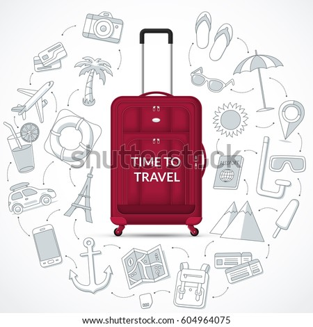 Travel bag with the set of tourism, journey, trip, tour, summer vacation doodle icons. Time to travel concept illustration