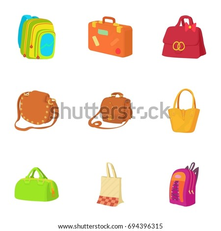 Travel baggage icons set. Cartoon set of 9 travel baggage vector icons for web isolated on white background