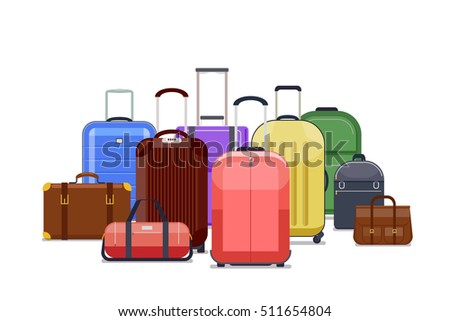 Travel bags and luggage color vector. Heap of baggage to travel trip illustration