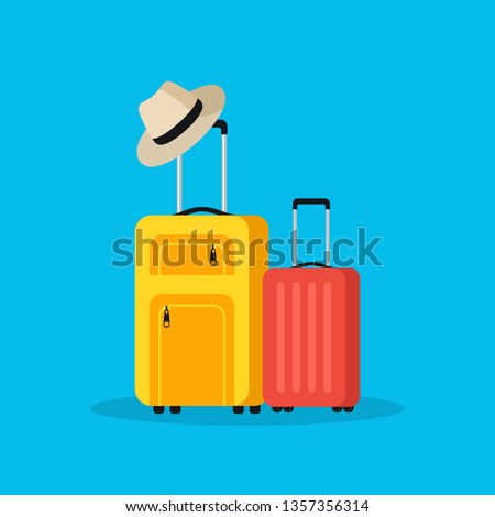 Travel bags and summer hat. Vacation concept. Travel. Flat style. Vector