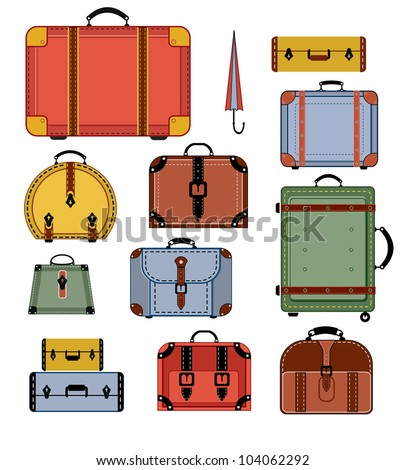 Travel bags in various colors on a white background