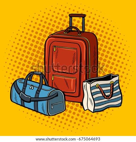 Travel bags pop art retro vector illustration. Comic book style imitation.