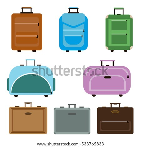 Travel bags vector. Travel bags business packing handle voyage isolated on white background. Departure summer traveler trip baggage travel bags collection. Adventure handbag or luggage.