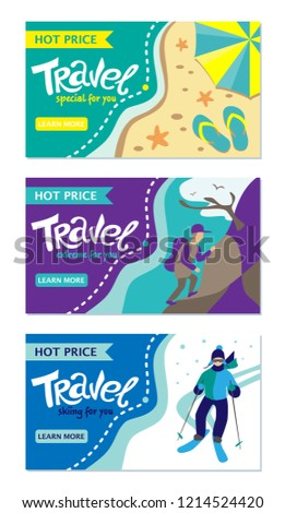 Travel banner for web site. Set of vector template design. Tourism. Summer tours, extrim tours, winter tours