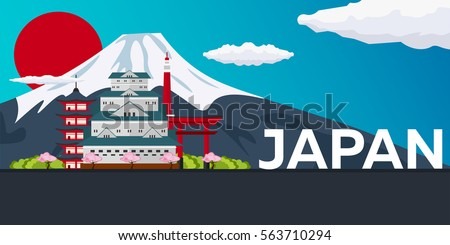 travel banner to japan vector