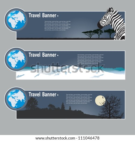 Travel banners: landscapes