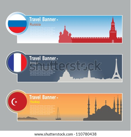 Travel banners: Russia, France and Turkey