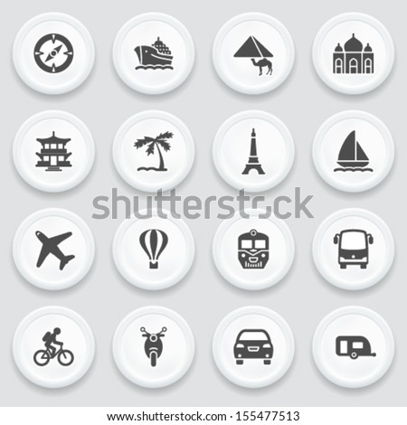 travel black icons on with