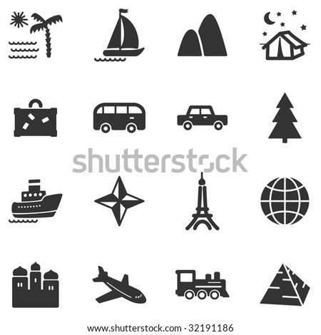 Travel black web icons