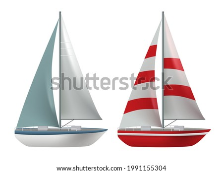 Travel boat vector set design. Travel ship and yacht collection elements isolated in white background for international cruise transportation. Vector illustration.  Photo stock ©
