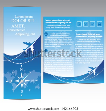 Travel Brochure with airplane and compass stock photo
