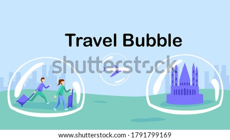Travel bubble policy, travel corridors or corona corridors. Partnership between countries for people to travel freely within the zone. Reopening after COVID-19. Vector illustration, flat design