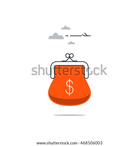 Travel budget, vacation money expenses concept, low price flight, cheap vacation