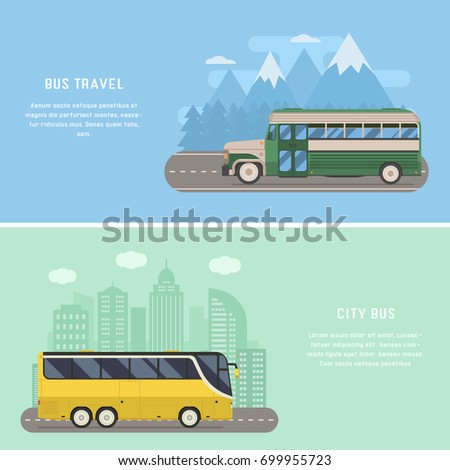 Travel by bus illustrations with modern city bus driving on downtown and retro coach on highway trip. Vector exploration concept backgrounds and banners.