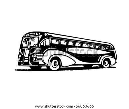 Travel By Bus - Retro Clip Art