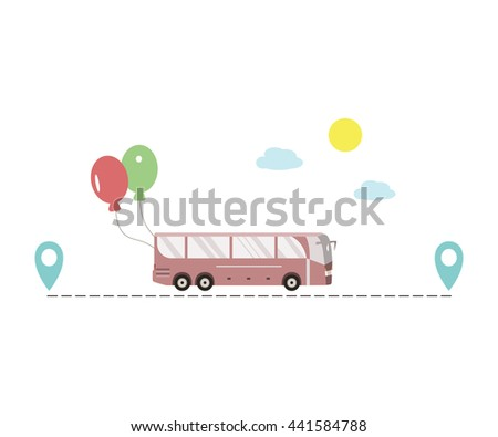Stock Vector Travel By Bus Tourist Coach Route