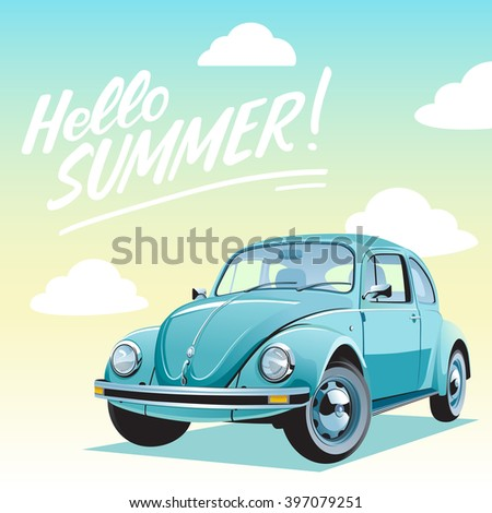 Travel by car. Hello summer vacation trip illustration. Retro Blue car on a sky gradient background.